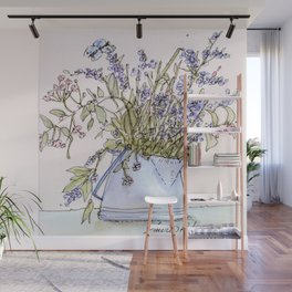 Wildflowers Botanical Flowers in Pitcher Wall Mural