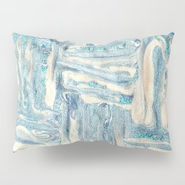 Blue and White Mixed Media Pillow Sham