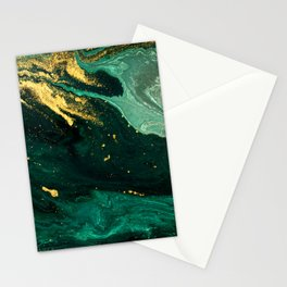 Abstract Pour Painting Liquid Marble Dark Green Teal Painting Gold Accent Stationery Cards