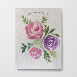 Find Joy Every Day Watercolor Flowers Metal Print