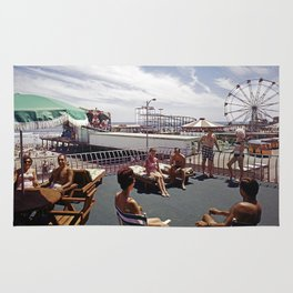 Kings Inn Hotel Sundeck on the Wildwood Boardwalk and Amusement Pier. 1960's retro photograph. Rug