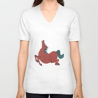 horse V-neck T-shirts featuring horse by James White