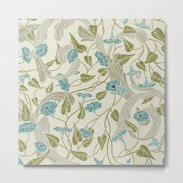 Modern chic ivory mint blue green floral Metal Print