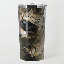 Raccoon Cub (white background) Travel Mug