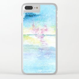 Blue Sky Watercolor Illustration Clear iPhone Case