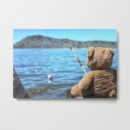Come on Walter said the fishing teddy bear Metal Print