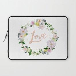 Love Pink Flower Wreath Laptop Sleeve