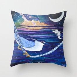 Galactic Night Heron Throw Pillow
