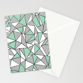 Abstraction Lines with Mint Blocks Stationery Cards