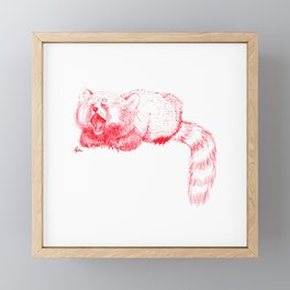 Red Panda Yawning Framed Mini Art Print