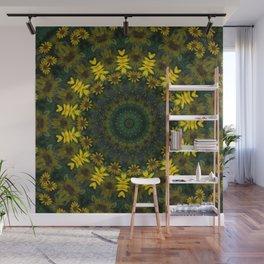 Large Yellow Wildflower Kaleidoscope Art 9 Wall Mural