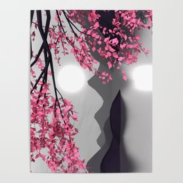 Low Poly Pink Tree Poster