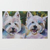 westie Area & Throw Rugs featuring Westie Impressionism Pet Portrait Larsen 1 by Karren Garces Pet Art