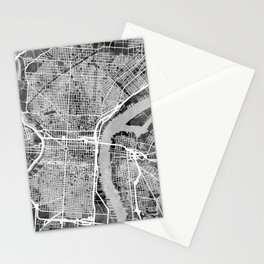 Philadelphia Pennsylvania Street Map Stationery Cards