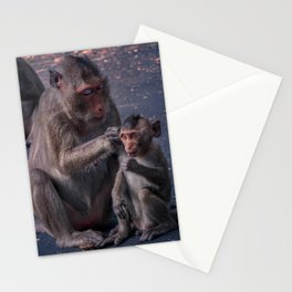 Mother and Baby Macaque Monkey Stationery Cards