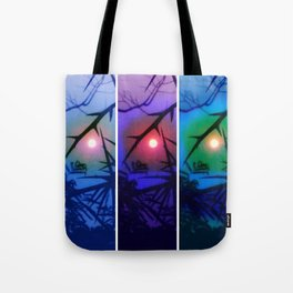 Moon and Locust Tree Collage Tote Bag