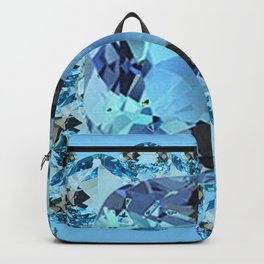 APRIL BIRTHSTONE BLUE AQUAMARINES FACETED GEMS  ART Backpack