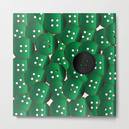 Green Buttons Metal Print
