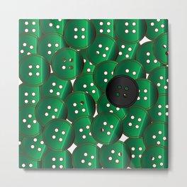 Green Buttons Metal Print