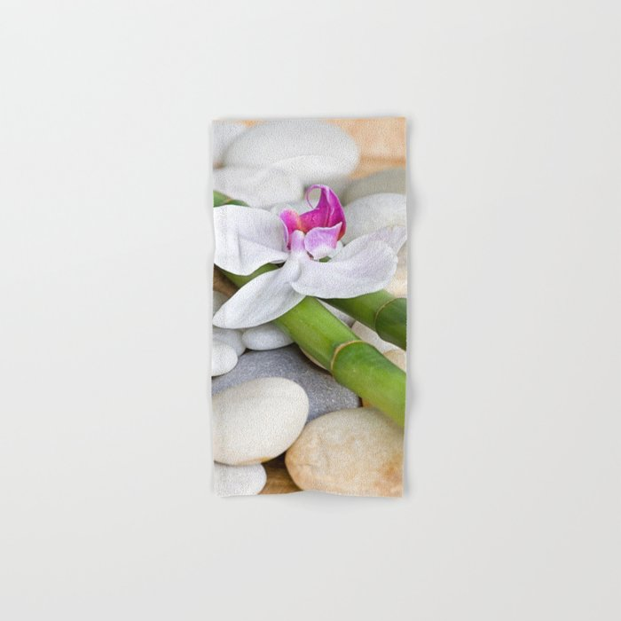 white Orchid flower  and green Bamboo still life Hand & Bath Towel