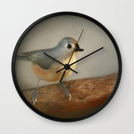 Winter Tufted Titmouse Wall Clock