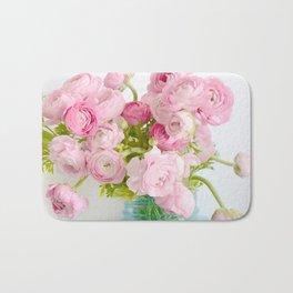 Dreamy Shabby Chic Ranunculus Peonies Roses Print - Spring Summer Garden Flowers Mason Jar Bath Mat