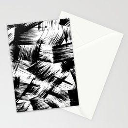 Modern Brush Strokes Black and White Stationery Cards