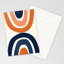 Abstract Shapes 11 in Burnt Orange and Navy Blue Stationery Cards