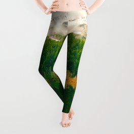 Reflective Mountain Lake With Trees Forest Leggings
