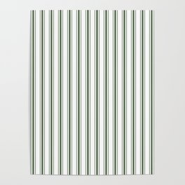 Large Dark Forest Green and White Mattress Ticking Stripes Poster