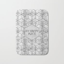 GRAPHIC ART SILVER My happy place | hearts Bath Mat