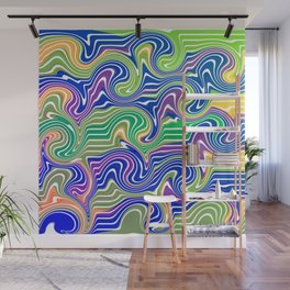 Swirls in blue and green Wall Mural