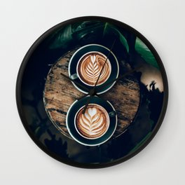 Latte + Plants III Wall Clock
