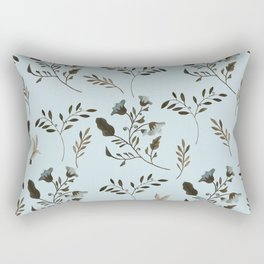 Pale Blue Bluebells and Bluebirds Floral Pattern Flowers in Blue and Bark Brown Rectangular Pillow
