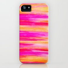 Welcome to Funky Town - Disco Inferno Dance Party Bold Rainbow Stripes Abstract Watercolor Painting Slim Case iPhone (5, 5s)