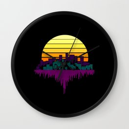 Vintage Retro 80s Sunset City Gift Wall Clock