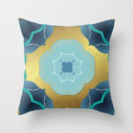 Vintage Tiles: Yellow Throw Pillow