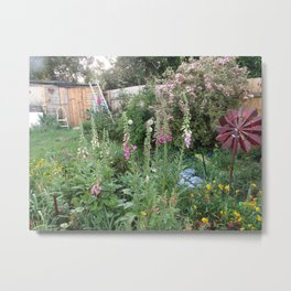English Garden,Fertile,Atmospheric,Foxgloves and Summer Shrubs Metal Print