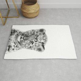 Baby Leopard Black & White, Baby Animals Art Print by Synplus Rug