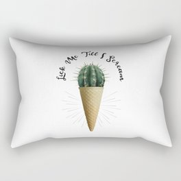 Ice Cream Cone Cactus Succulent Lick Me Scream Erotic Quote Surreal Rectangular Pillow