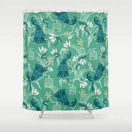 Aviary - Green Shower Curtain