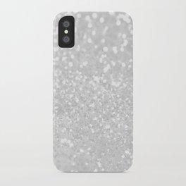 Chic elegant glamour White Faux Glitter  iPhone Case