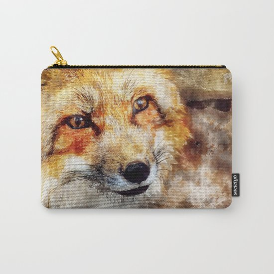 Fox animal nature wild forest-  watercolor illustration Carry-All Pouch