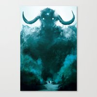 shadow of the colossus Canvas Prints featuring The Colossus by kriztille