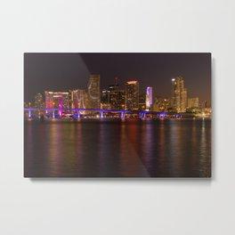 Downtown Miami Night, Fine Art Photography Metal Print