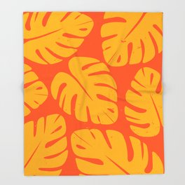 Monstera Leaf Print 1 Throw Blanket