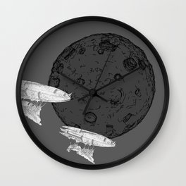 Around the Moon Grey and White Textured Version #5 Wall Clock