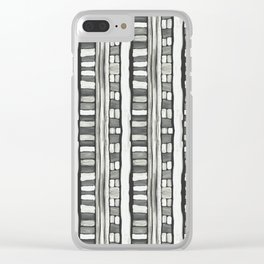 Watercolor Stripe, Black Clear iPhone Case