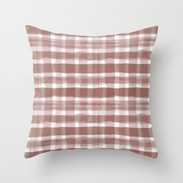 Watercolor Brushstroke Plaid Pattern Pantone Burnt Henna Red 19-1540 on White Throw Pillow