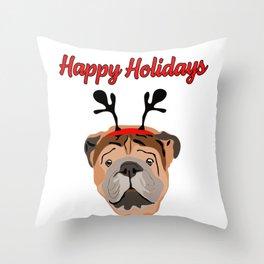 Happy Holidays greetings with cute British Bulldog  Throw Pillow